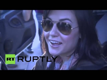 Russia  Sasha Grey gets racey behind Russian wheels